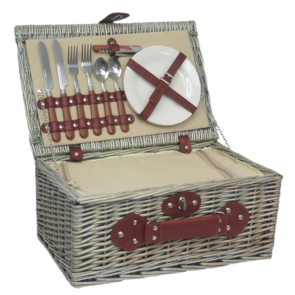 2 Person Chiller Fitted Wicker Picnic Basket