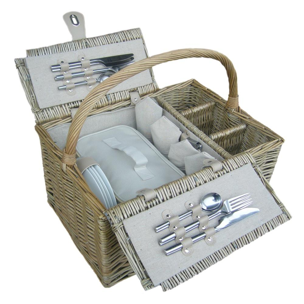 Deluxe Retro Double Lidded Wicker Fitted Picnic Basket