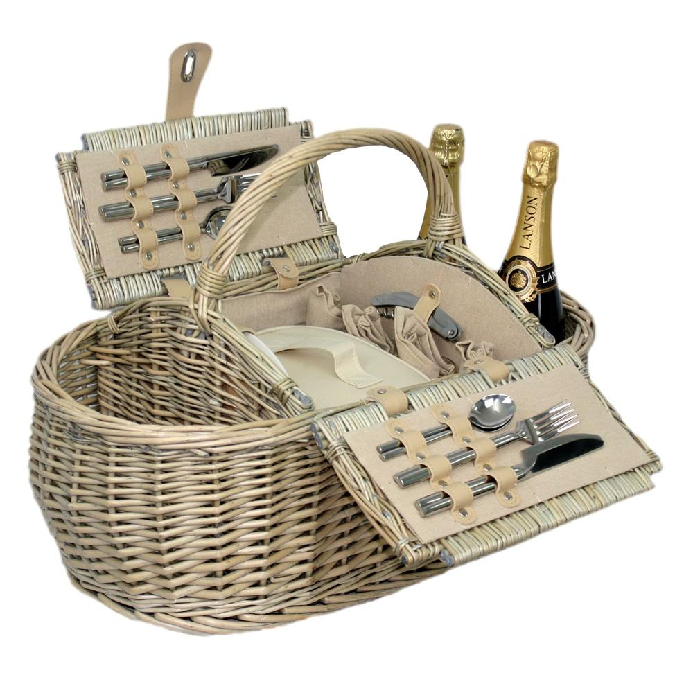 Boat Shaped Fitted Wicker Picnic Basket