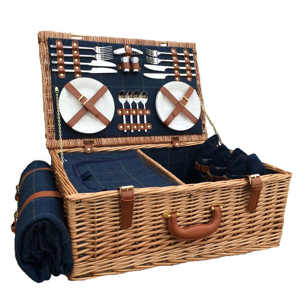 Blue Tweed Fitted Wicker Picnic Basket