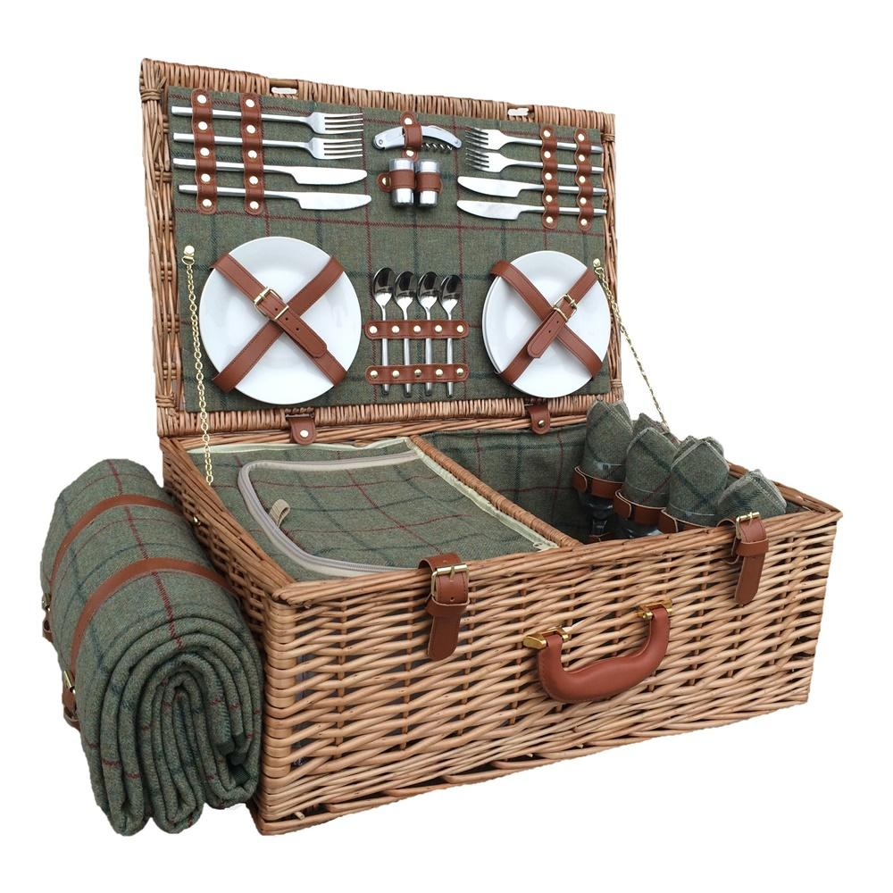 Green Tweed Fitted Wicker Picnic Basket