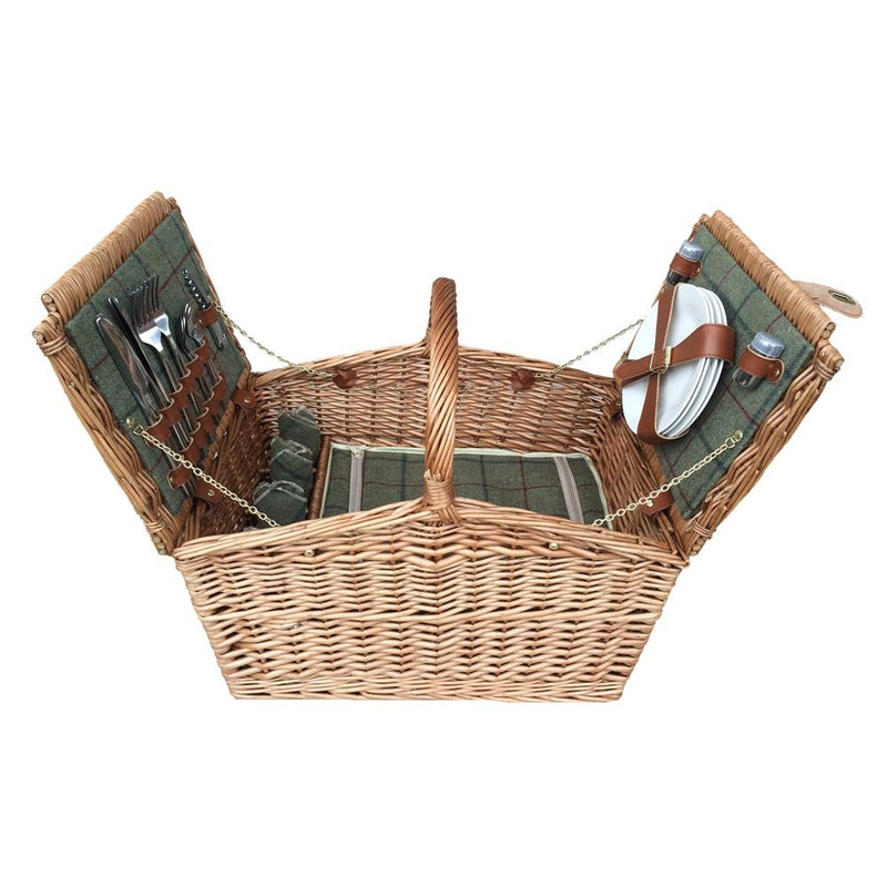 4 Person Green Tweed Double Lidded Fitted Wicker Picnic Basket