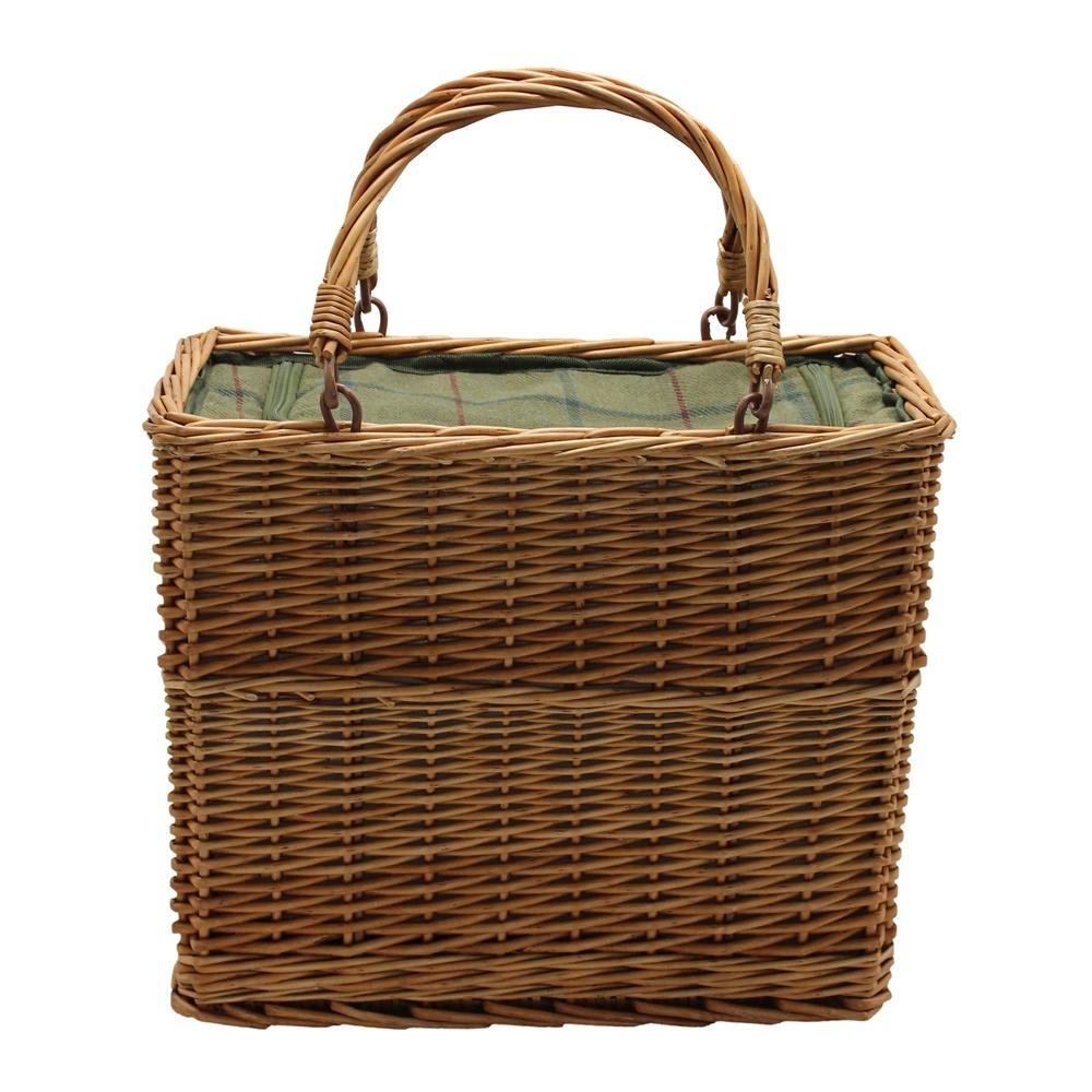 Green Tweed Rectangular Wicker Cooler Basket