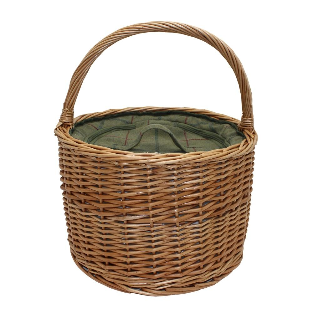 Green Tweed Round Wicker Chiller Basket
