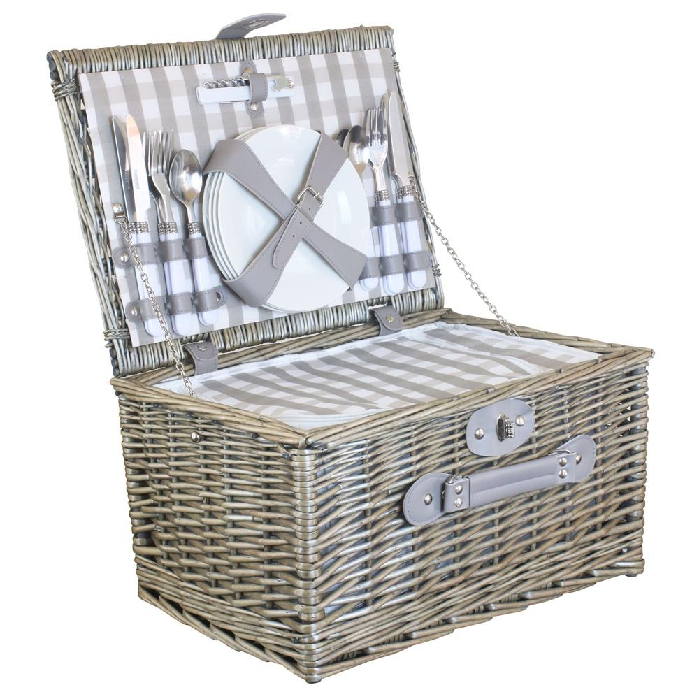 Grey Checked Wicker Picnic Basket with Cooler