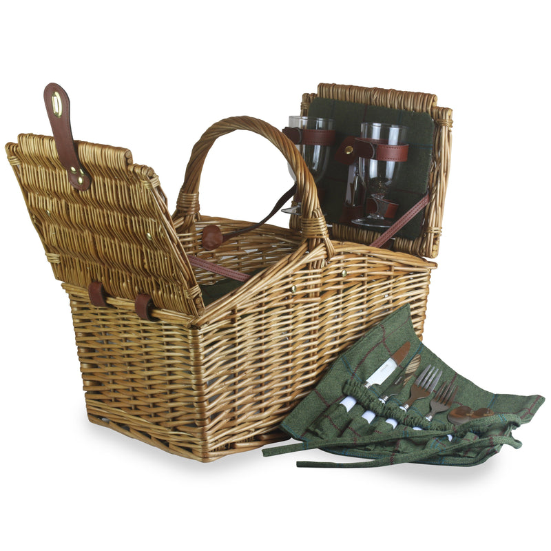 2 Person Butterfly Lidded Fitted Wicker Picnic Basket