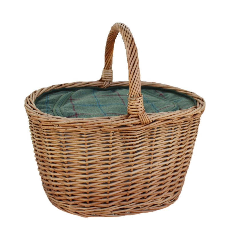 Oval Wicker Basket with Zipped Cooler Bag