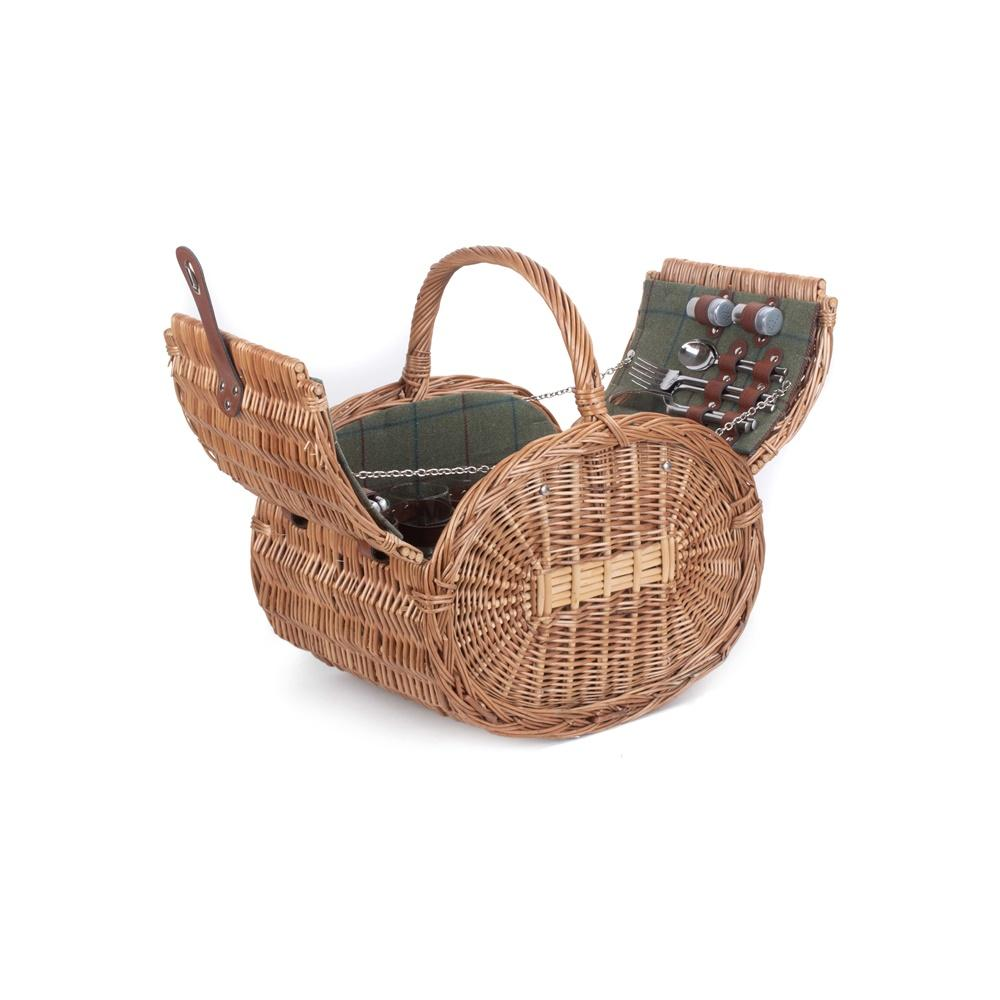 Oval 4 Person Green Tweed Wicker Picnic Basket
