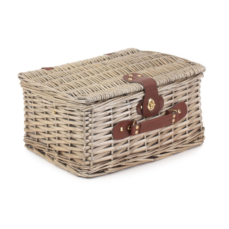 Antique Wash Wicker Nature Pattern Fitted Picnic Basket