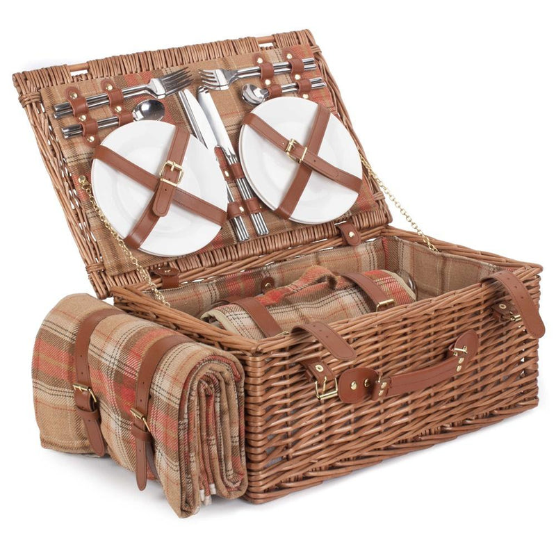 Autumn Red Tartan Fitted Wicker Picnic Basket with Cooler