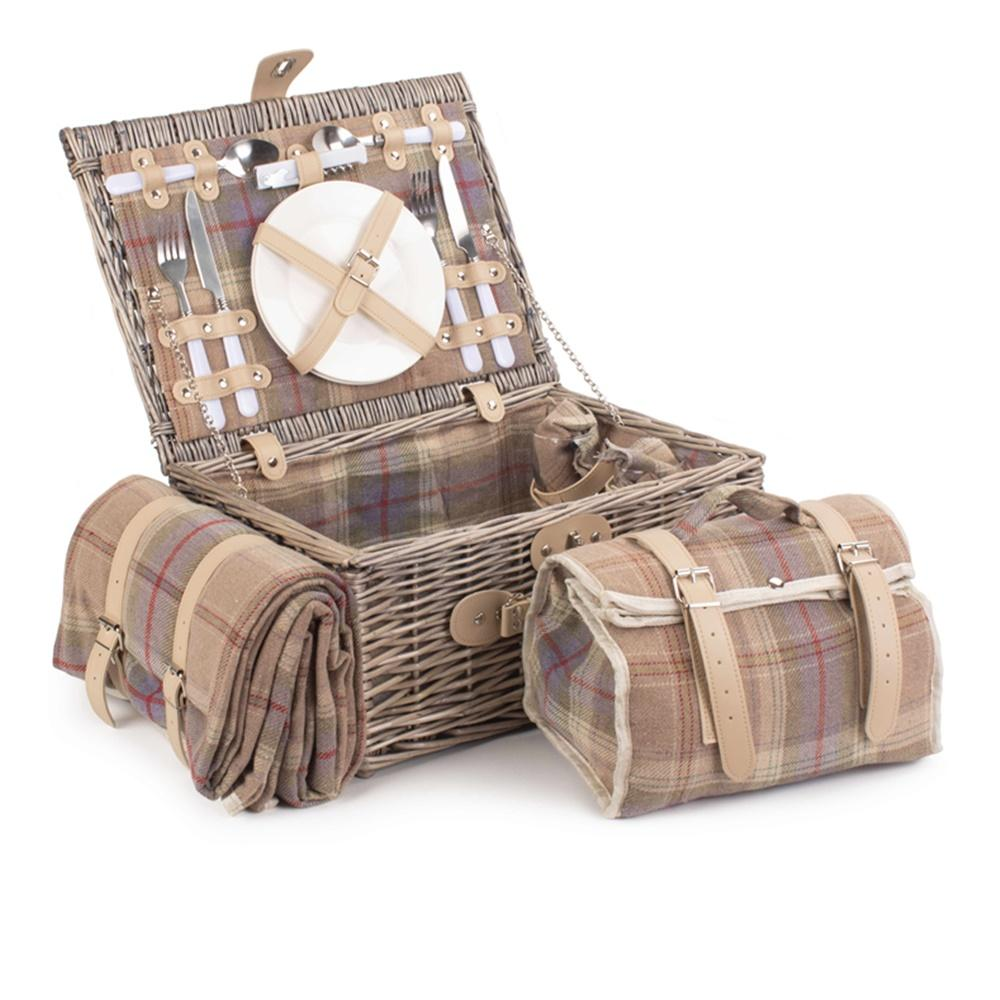 Lavender Tartan Fitted Wicker Picnic Basket with Cooler