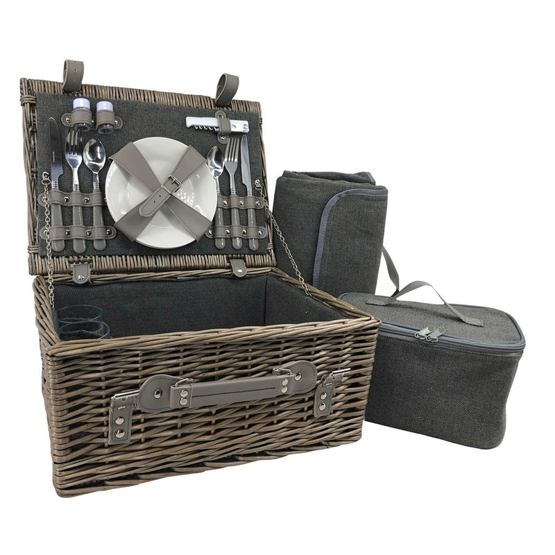Grey Tweed Wicker Fitted Picnic Basket