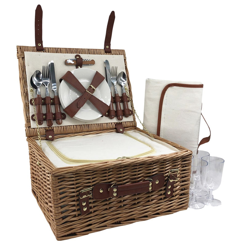 Classic Wicker Fitted Picnic Basket