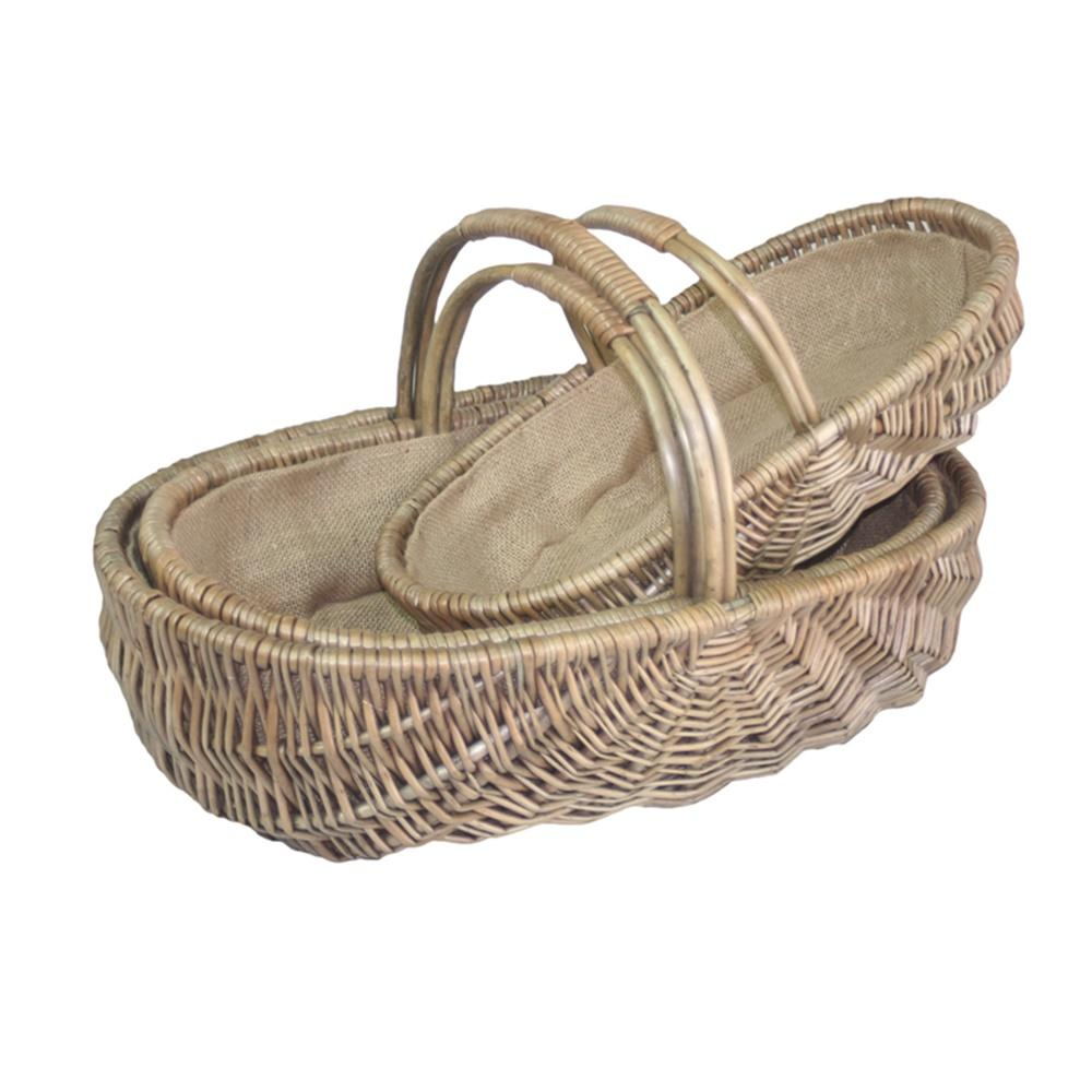 Shallow Antique Wash Lined Garden Trug