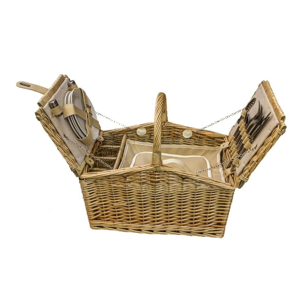 Butterfly Lidded 4 Person Fitted Farmhouse Wicker Picnic Basket