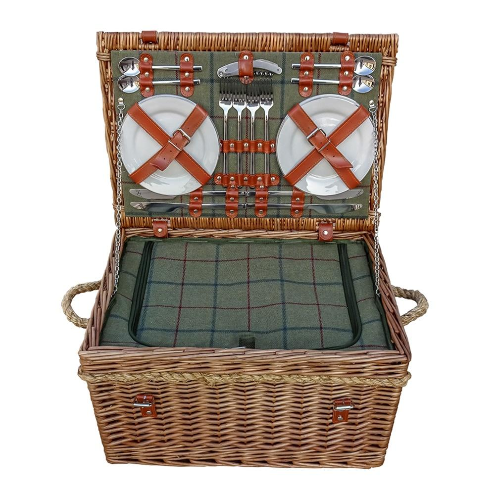 Burghley 4 Person Green Tweed Fitted Wicker Picnic Basket