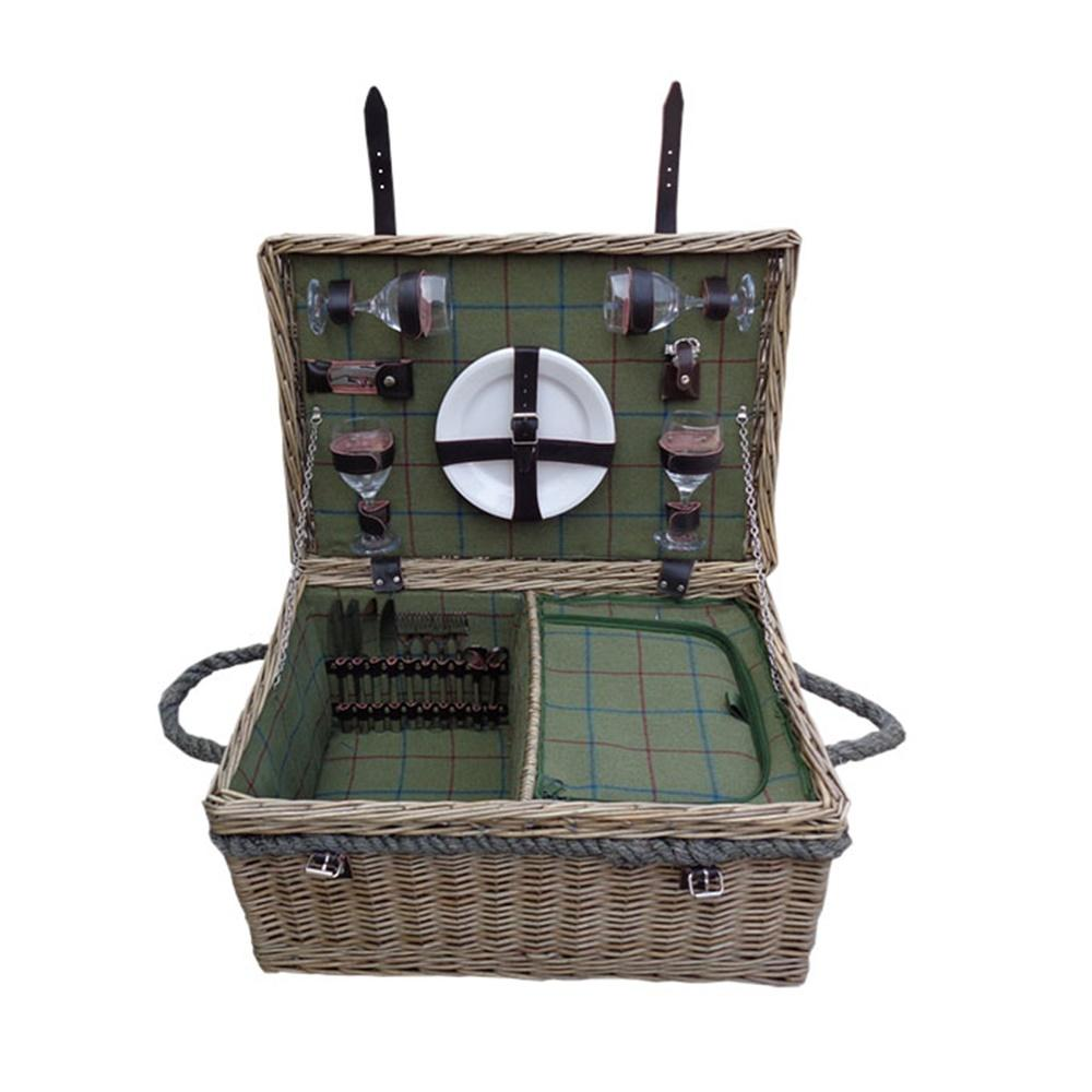 Lancaster Green Tweed Fitted Wicker Picnic Basket
