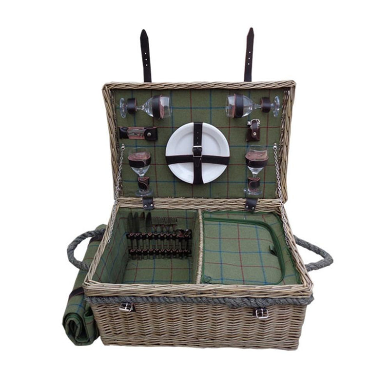 Lancaster Green Tweed Fitted Wicker Picnic Basket with Blanket