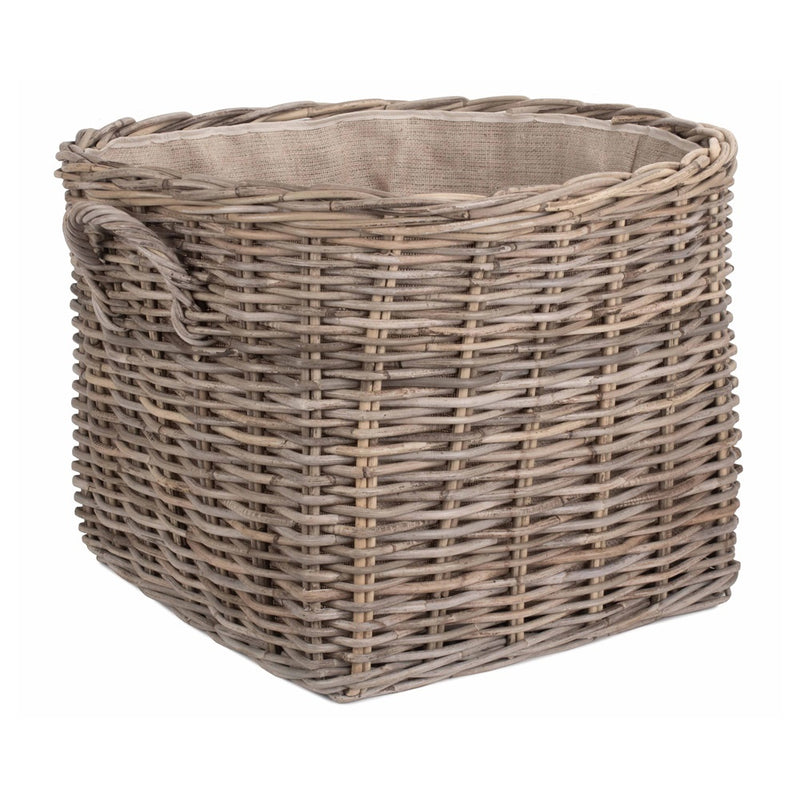 Grand Rattan Hessian Lined Log Basket