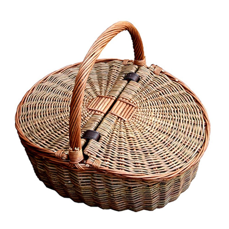 Two Tone Double Lidded Empty Picnic Basket
