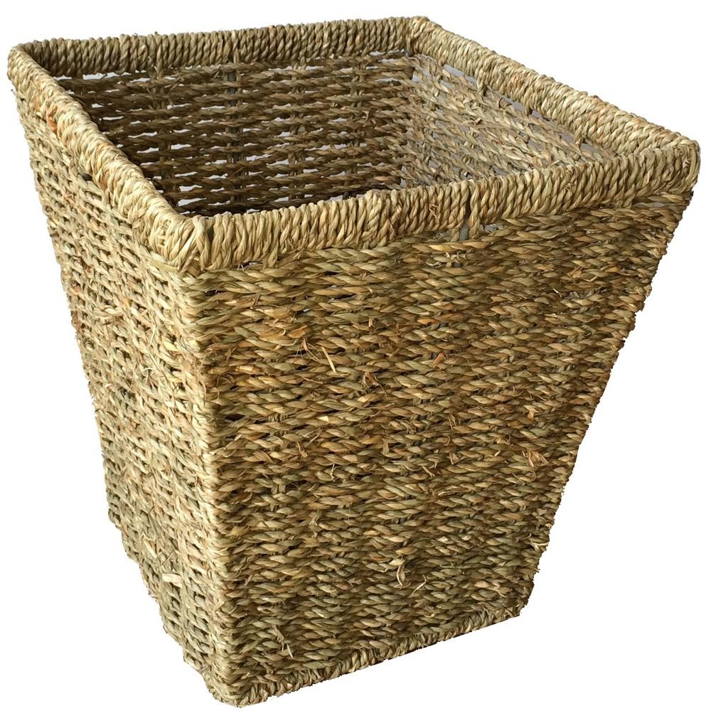 Seagrass Square Waste Paper Basket Bin
