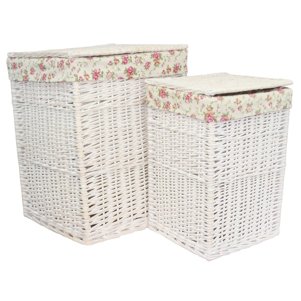 Square White Wash Wicker Laundry Basket Rose Lining
