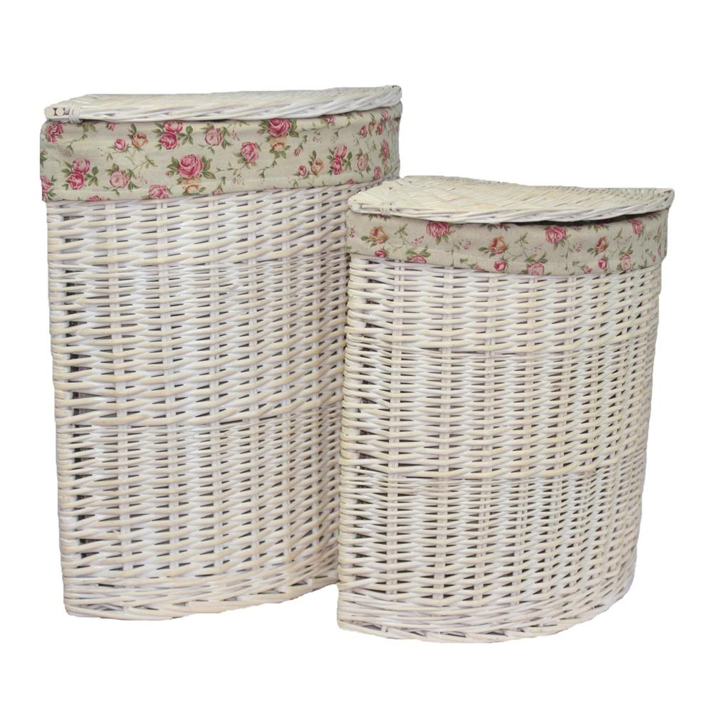 White Wash Corner Garden Rose Lined Laundry Basket