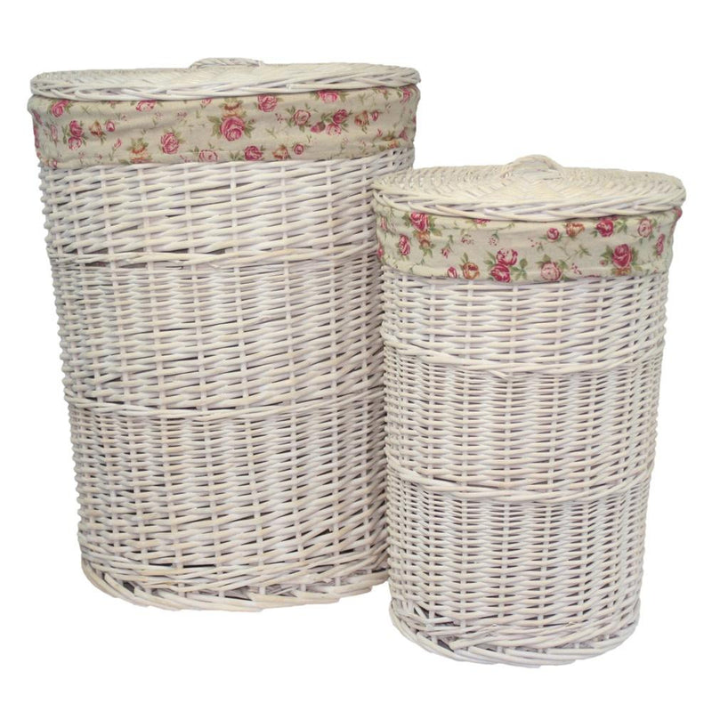 White Wash Round Garden Rose Lined Laundry Basket