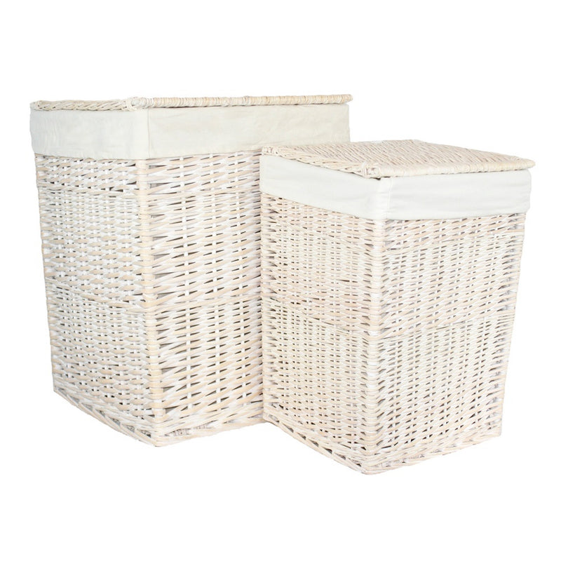 Square White Wash Wicker Laundry Basket
