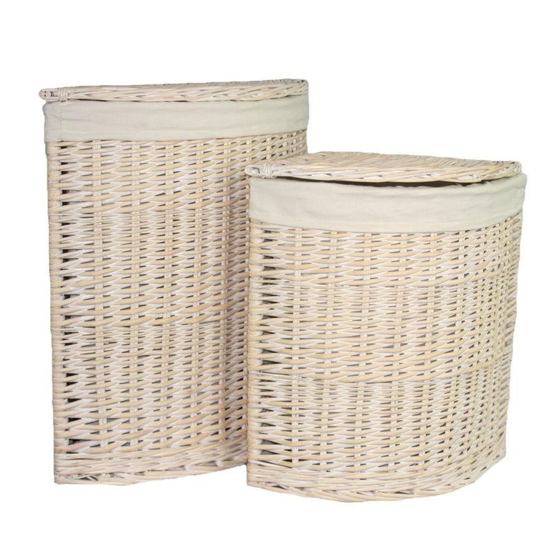 White Wash Corner White Cotton Lined Laundry Basket