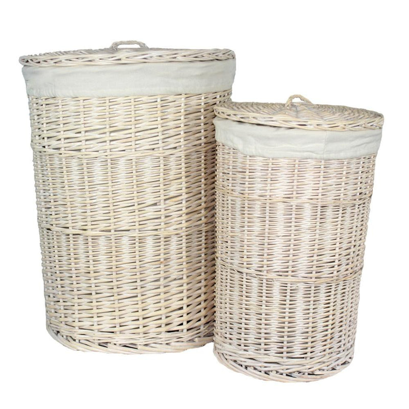 White Wash Round White Cotton Lined Laundry Basket