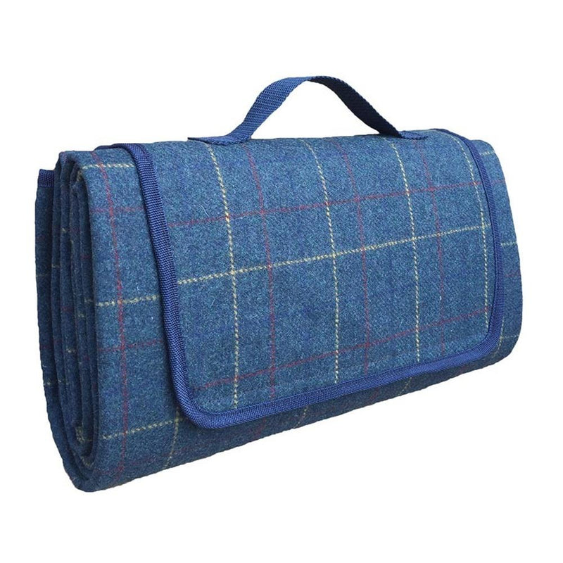 Luxury Blue Tweed Picnic Blanket