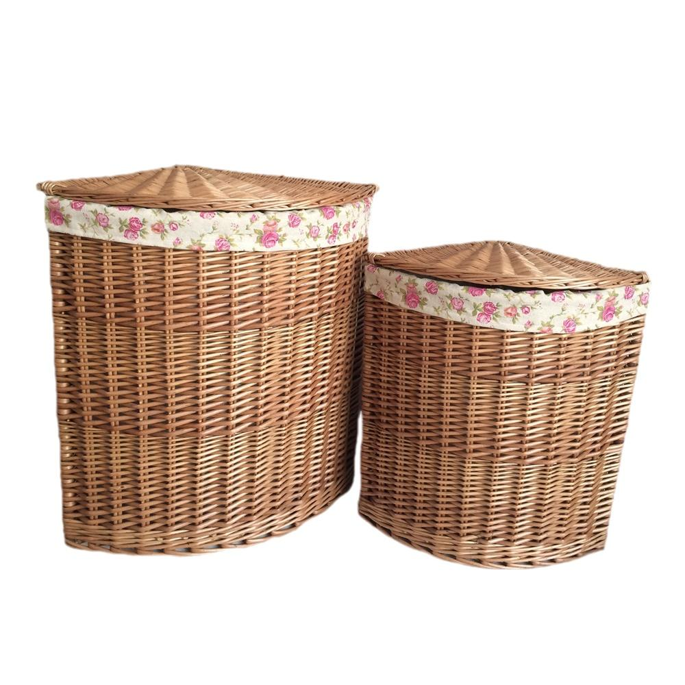 Light Steamed Corner Garden Rose Lined Laundry Baskets
