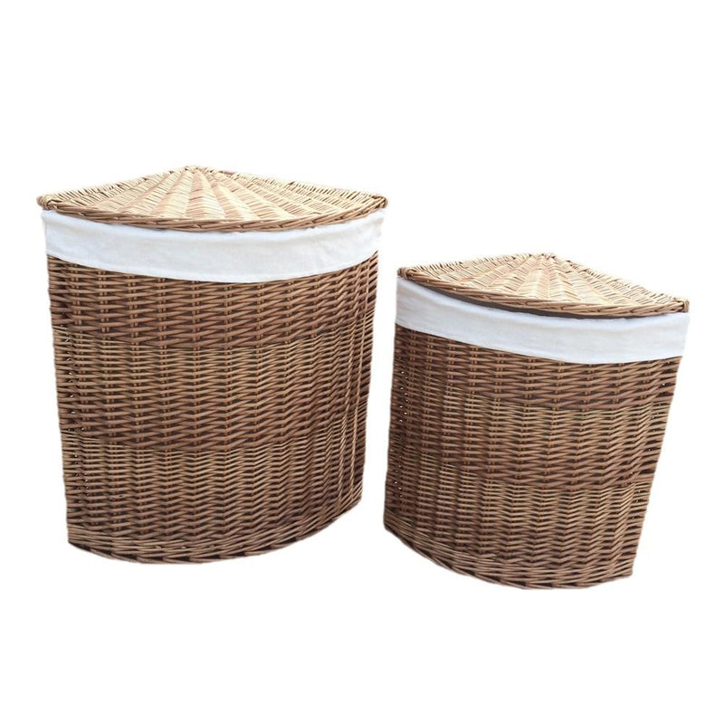 Light Steamed Corner White Cotton Lined Laundry Baskets