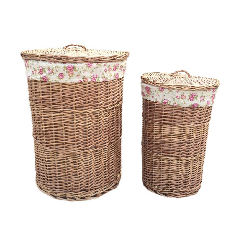 Light Steamed Round Garden Rose Lined Laundry Baskets