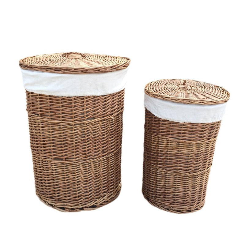 Light Steamed Round White Cotton Lined Laundry Baskets