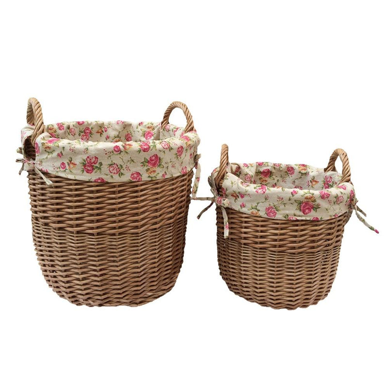 Light Steamed Wicker Garden Rose Lined Basket