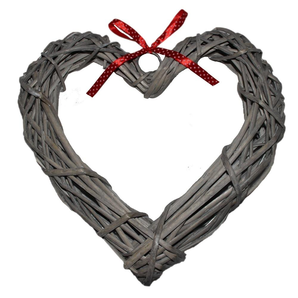 Wicker Wide Heart Wreath With Red Spotty Ribbon