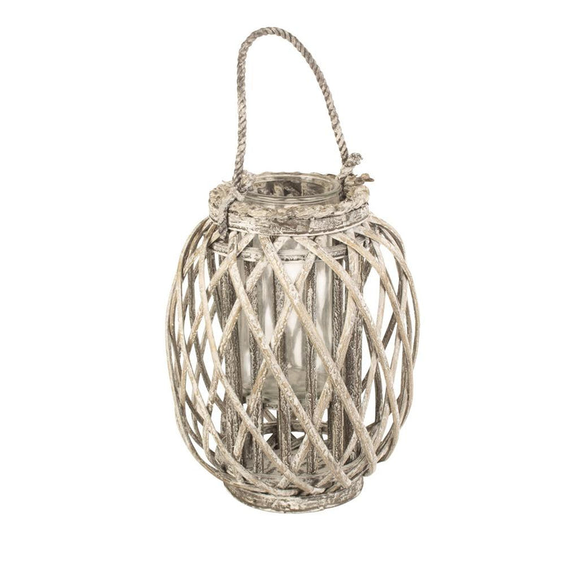 Small Grey Wash Willow Candle Lantern