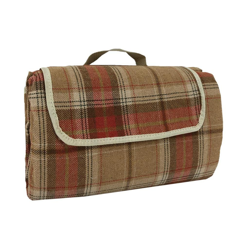 Burnt Orange Polyester Fleece Tartan Picnic Rug