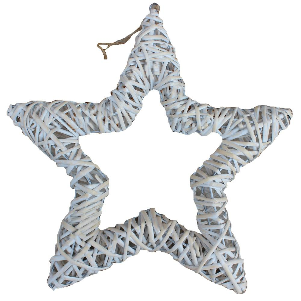 White Wash Wicker Open Star Christmas Decoration