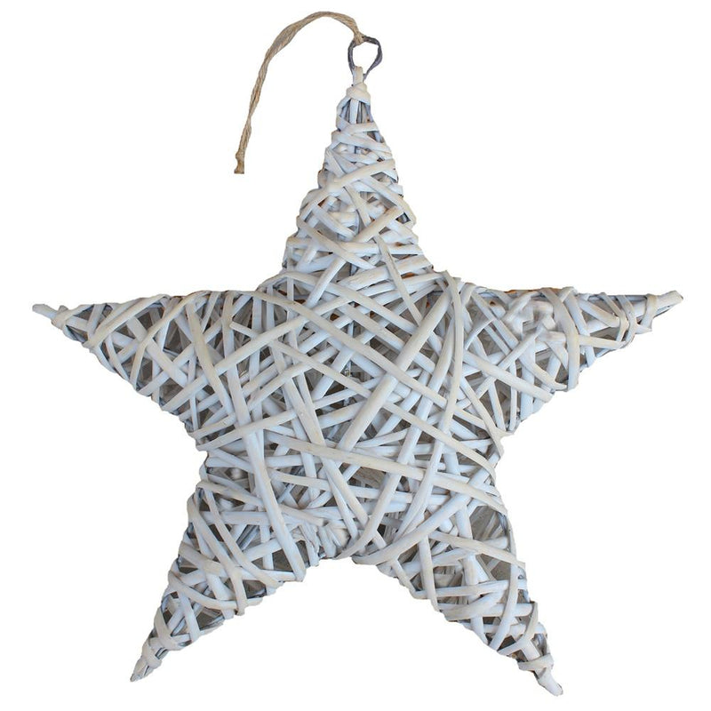 White Wash Wicker Full Star Christmas Decoration
