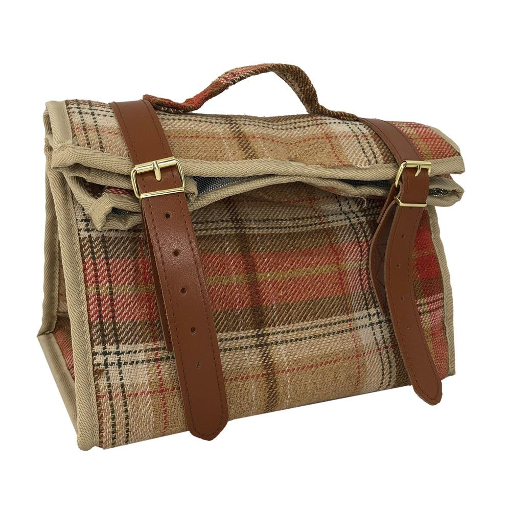 Autumn Red Tartan Picnic Cooler Bag