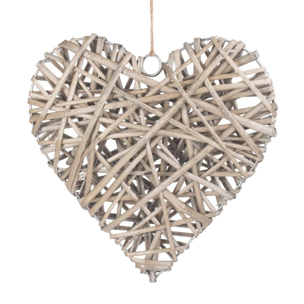 Full Antique Wash Wicker Heart