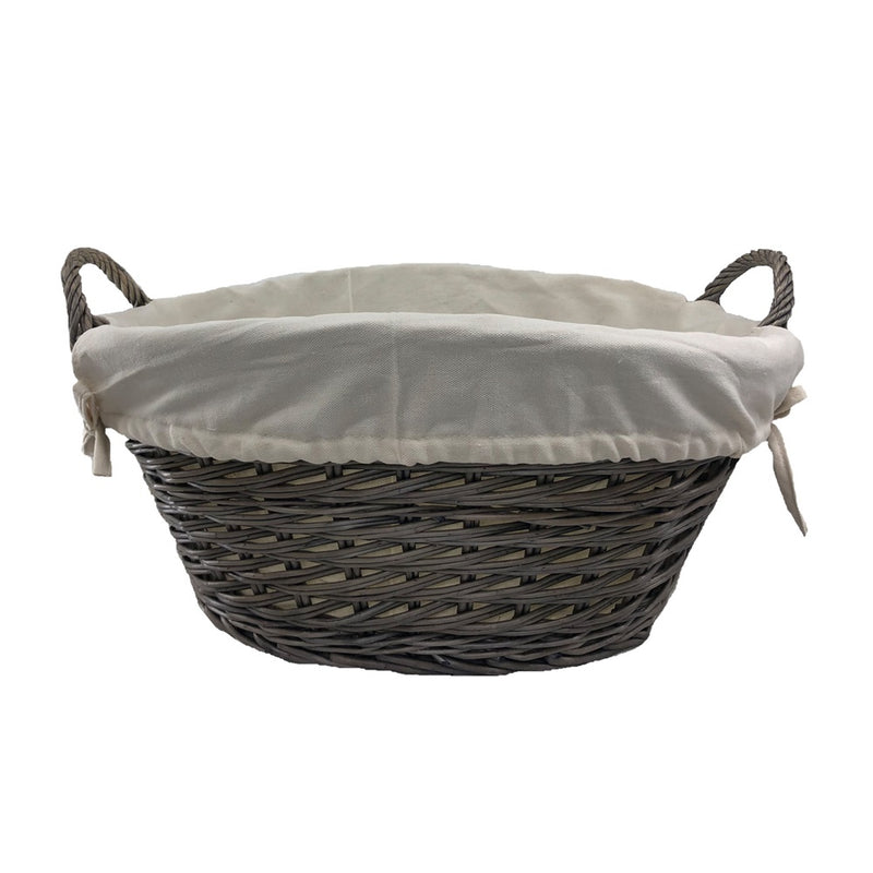 Small Wicker Wash Basket with White Lining