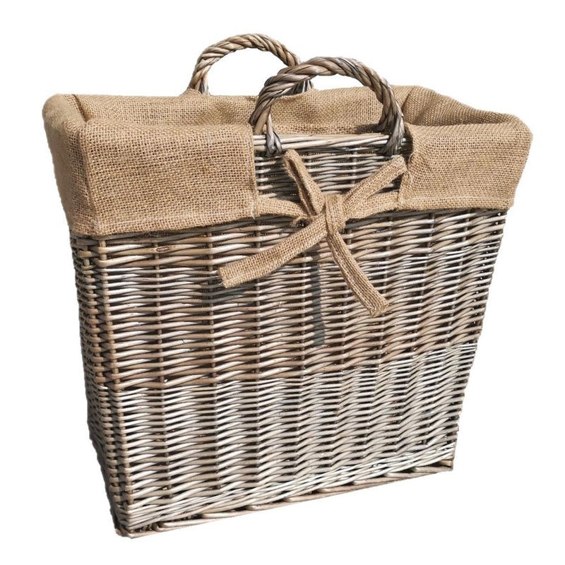 Slim Antique Wash Wicker Log Basket
