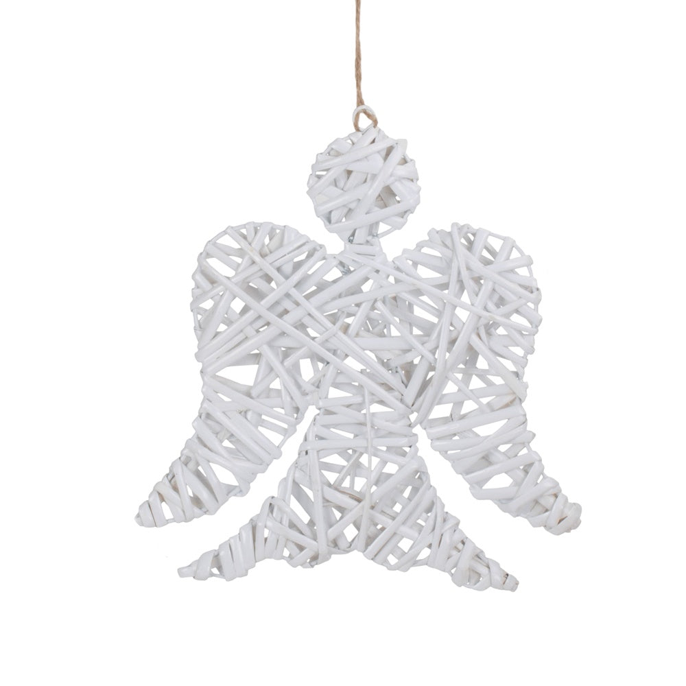 White Angel Wicker Christmas Decoration