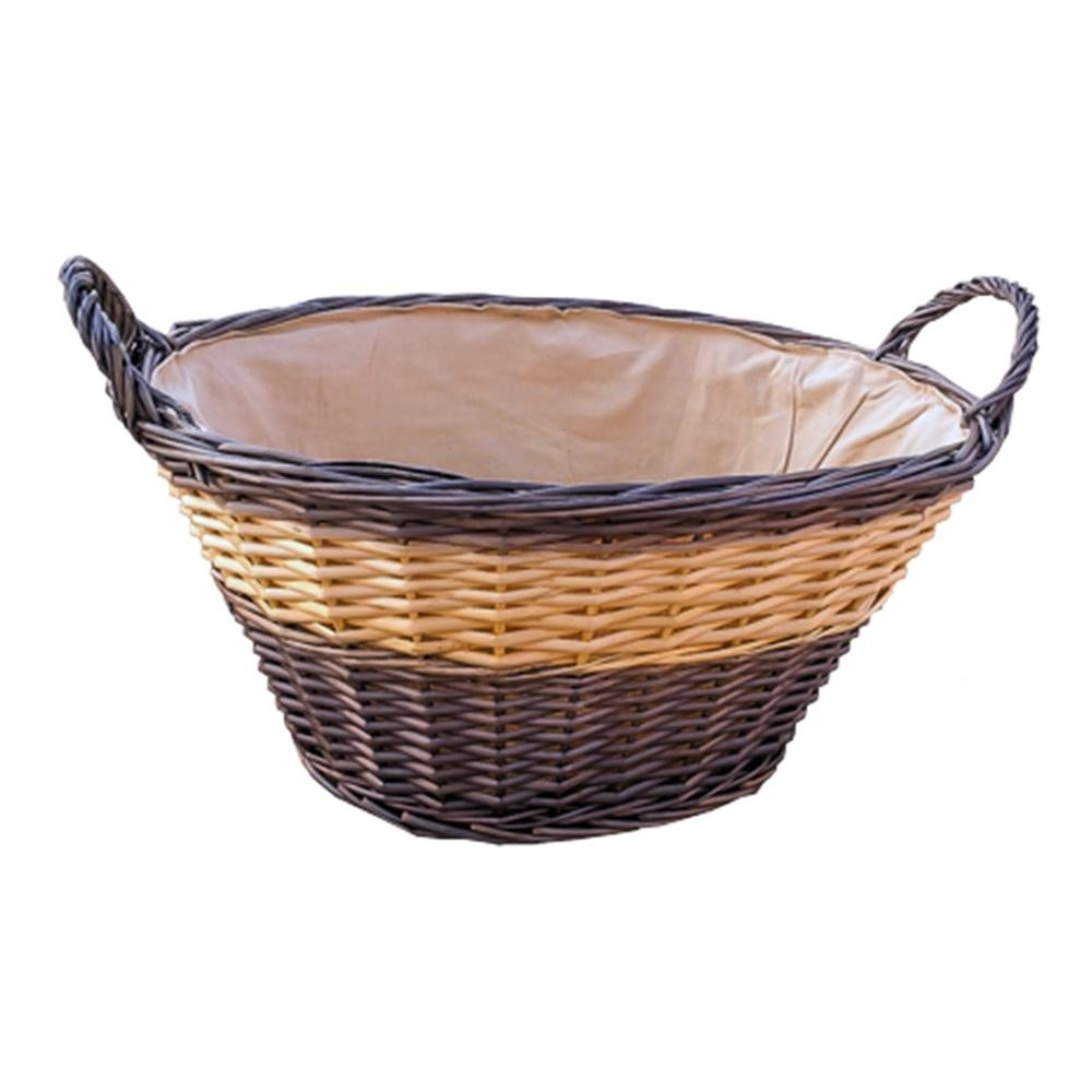 Two Tone Lined Wicker Wash Basket