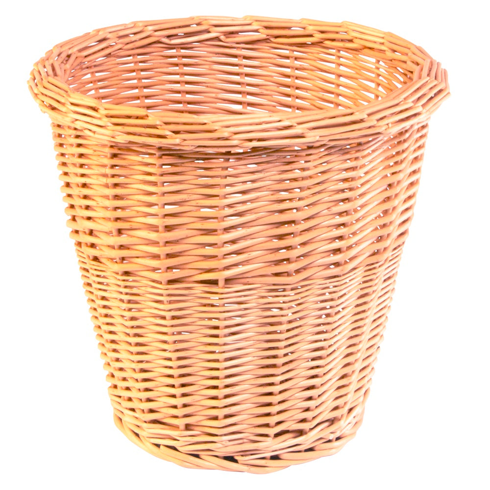 Buff Willow Round Wicker Waste Paper Bin