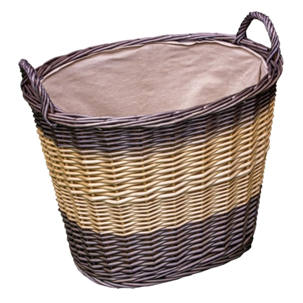 Deep Two Tone Lined Wicker Wash Basket